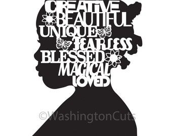 I am Black Girl, Digital Download Nursery Art, African American Art, Instant Download, Afro Art, Printable Art, Cut Paper Print