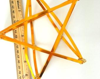 "Gold Star Tree Topper -  metal star handmade tree topper - medium - golden 6.5"" wired - BB"