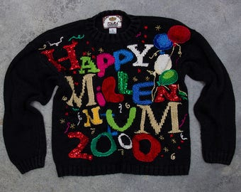Y2K Happy Millennium Sweater | Oversized Sequin New Years Party Jumper 7CI