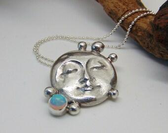 Moon Necklace - Sterling Silver Jewellery - Opal Pendant - Hallmarked Silver - Moon Goddess Pendant - Opal Jewellery - October Birthstone