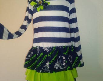 Seattle Seahawks Ruffle Long Sleeve Dress **SHIPS NEXT DAY** 2t 3t 4t 5 6 7 8 10 years old 12th Man