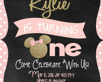 Minnie mouse birth etsy minnie mouse invitation birthday pink and gold chalkboard disney quick turnaround stopboris Images