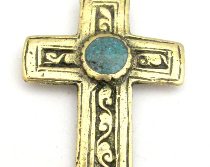 1 Pendant - Tibetan brass repousse cross pendant reversible with floral design and turquoise inlay- PM352C Copyright Nepalbeadshop