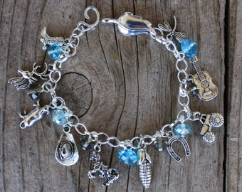 CUSTOM COUNTRY GIRL, Your Way, Western, Charm Bracelet, FrEE Shipping, Handmade by Okrrah