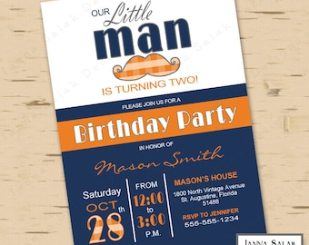 Little Man Birthday Party Invitation Printable Mustache Party Blue and Orange LM04