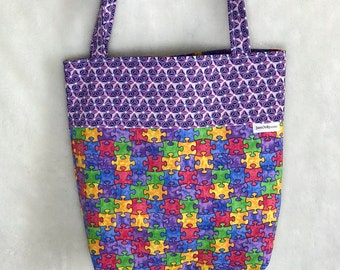 Reversible It's a Puzzle to Me Bag or Bandana