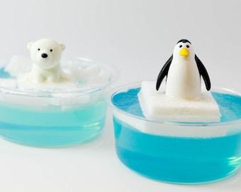Polar Bear or Penguin on iceberg soap, child's birthday gift, stocking stuffer soap, party favor, shower favor, child's soap, novelty soap
