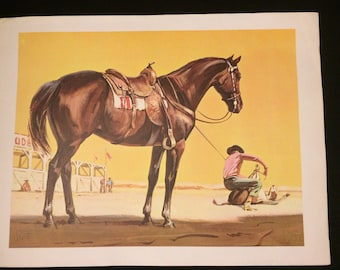Gorgeous Sam Savitt horse lithograph Rodeo circa 1950