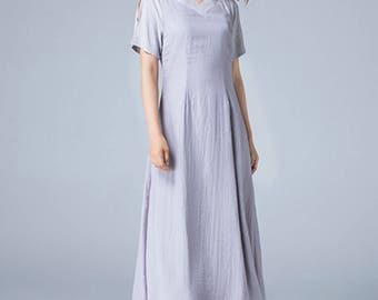 light grey dress, maxi dress, linen dress, ladies dresses, fitted dress, swing dress, party dress, summer dress, reglan dress, plus size1786