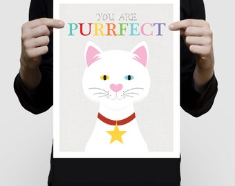 cat art print - you are purrfect artwork, cat lover gift, inspirational kids art, white kitten, nursery decor, illustration, being different