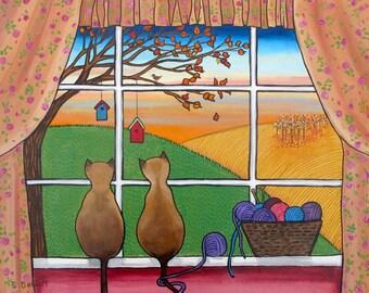 Siamese Cats knitting window  Print Shelagh Duffett