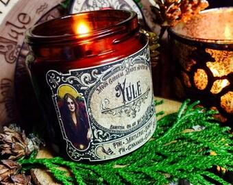 YULE RITUAL CANDLE ~ Yule Candle~ Yule Light~ Honor the Sun's Rebirth~ Tweleve days of Virtue~ 30 Hour Burn~ 4oz Jar