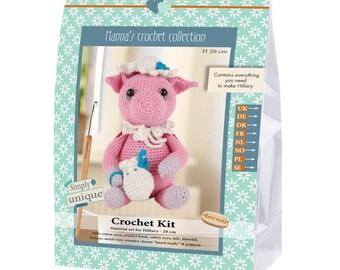 Crochet Kit by Go Handmade DIY Hillary Pig Amigurumi Complete Kit