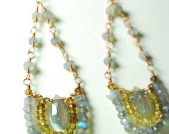 Noe Collection, Gemstone fusion mandala, reiki infused, moon charged, faceted labradorite earrings on copper with jade and tourmaline