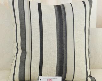 "CUSHION COVER 17""x17"" 43cm sq Charcoal Stripe Cotton Blend"