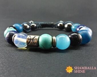 Pisces bracelet Blue jewelry Birthday gift Zodiac jewelry Gemstone bracelet Gem jewelry February birthstone March birthday Horoscope jewelry
