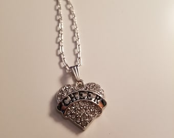 Sports themed heart necklaces