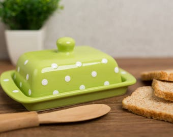 Green Covered Butter Dish with Lid, Ceramic Butter Keeper, European Style White Polka Dot, Stoneware Handmade Pottery, Housewarming Gift