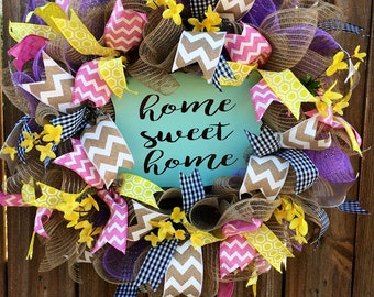 Home Sweet Home wreath, Burlap wreath, Floral Wreath, spring wreath, Summer Wreath, New Home Wreath, Spring Decor, Summer Decor, Porch Decor