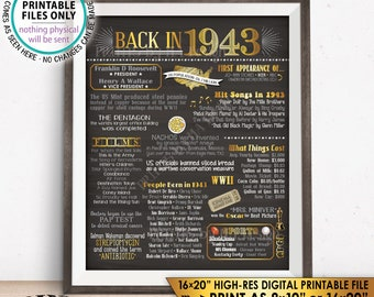 """1943 Flashback Poster, Flashback to 1943 USA History Back in 1943 Birthday 75th Birthday, Gold, Chalkboard Style PRINTABLE 16x20"""" Sign <ID>"""