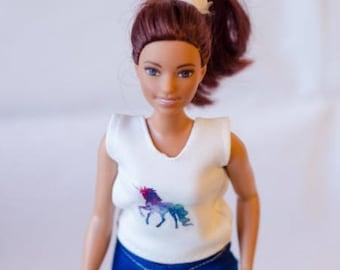 barbie unicorn top - handmade barbie clothes
