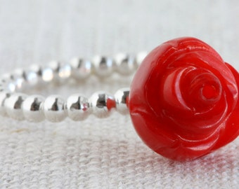Dotted Sterling Silver Ring with Carved Coral Focal