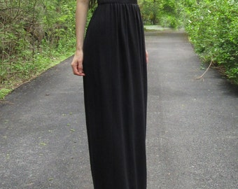 moonlight kiss - black bamboo paired with vintage 1970's floral lace boho maxi dress xs