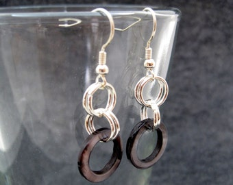 Silver Dangle Earrings - Small Black Shell by randomcreative on Etsy