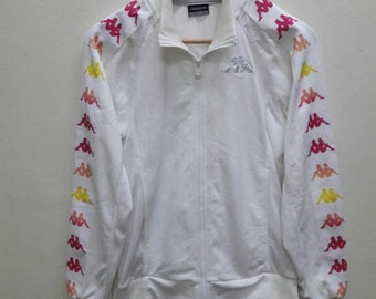 Kappa Jacket Rare Multicolour White Rainbow Zip up jogger Athletic Casual Wear Small Size
