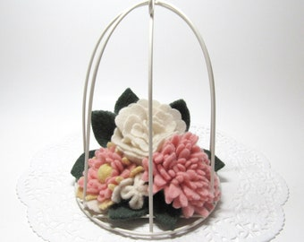 Metal BirdCage Flower Arrangement, White Bird Cage Wall Art, Hanging Garden with Wool Felt Flowers, Mother's Day Gift for Her