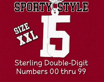 "NEW XXL Size Custom Double 2 Digit Number ""Pretty Sporty"" Pendant Charm Varsity Sports Uniform Sterling Silver Personalized Jewelry Necklace"