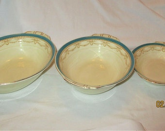 Vintage Grindley Cream, Teal Blue Green Band W/Brown Gold Scroll & Bows Serving bowls Set 3