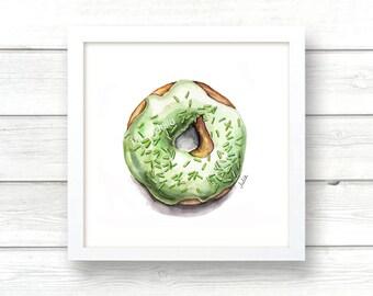 donut print of original watercolor painting