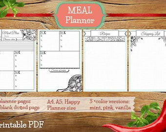 Printable Weekly Meal Planner, Week meals plan, bullet journal meal insert, meal planner insert, calendar meal printable, shopping list