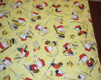 Charlie Brown and Peanuts Baseball Pillowcase with brown trim - Fits Standard and Queen size pillows
