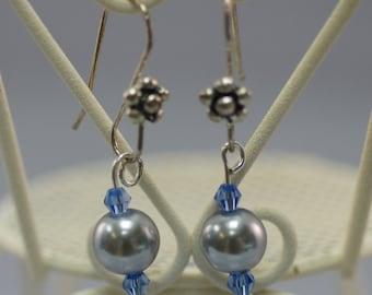 Soft Gray Glass Pearl Drop Earrings