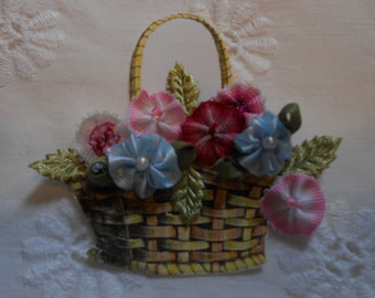 "A Crazy Quilting Embellishment "" Basket of Flowers"""