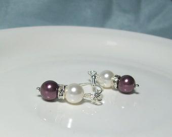 Burgundy Bridal Earrings Swarovski Pearls and Rhinestones