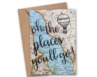 Oh The Places You'll Go Card - Graduation Card - Congratulations Card - Love Card - Travelers Card - College - Vintage Map Card - VM-013