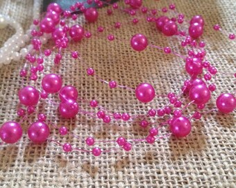 Hot Pink Pearl Beaded Garland (8+3mm Pearls) Used for Creating The Floating Beaded Pearl Centerpiece