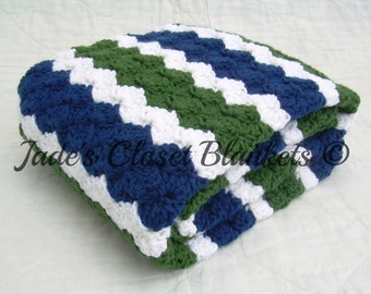 Crochet Baby Blanket, Baby Blanket, Crochet Green Blue Baby Blanket, Blue, Green, and White, travel size