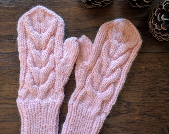 Mother's day gift, light Rose pink mittens women's, cable knit mittens, light pink, wool mittens gift.