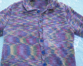 Hand Knitted Cardigan - Gorgeous Purple Multicoloured for a Girl aged around 10 years.