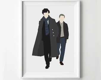 Sherlock Duo Poster - TV poster, Minimalist print, Digital Art Print