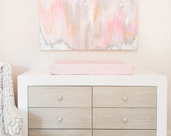 "Sold!!  Abstract Art Large Canvas Painting Gray, Peach, Pink,  Ikat Ombre Glitter with Glass and Resin Coat 36"" x 48"" real silver leaf"