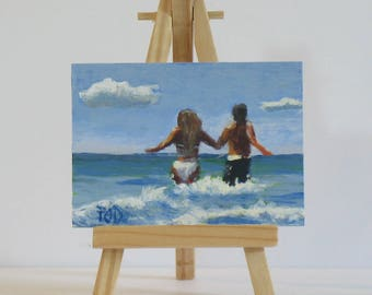 Original Aceo, artist trading cards,  small acrylic painting, beach painting, miniature art