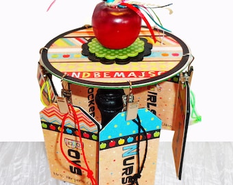 Teacher Gift Desktop Hall Pass Carousel  Personalized Back to School with Apple