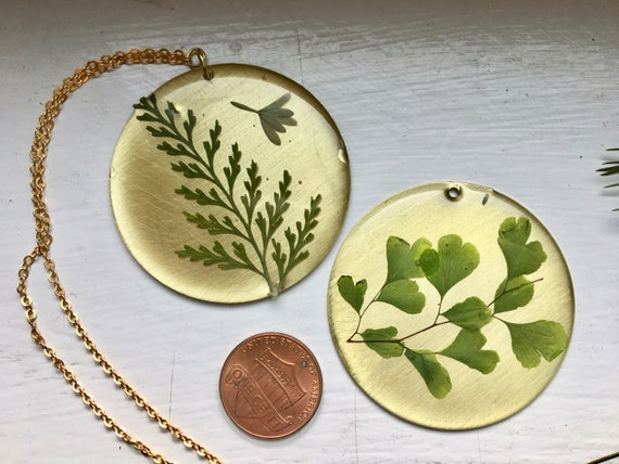 Shiny Brass circle with maidenhair fern necklace