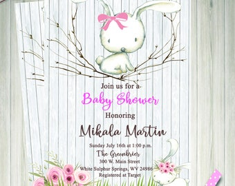 Digital Baby Shower Invitation - Rustic - White Bunny - Pink Floral - Wood - Bunny Invitation - Printable - Personalized