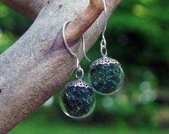 Recycled Reclaimed Early 1900's Olive Green Wine Bottle Glass and Sterling Silver Orb Earrings